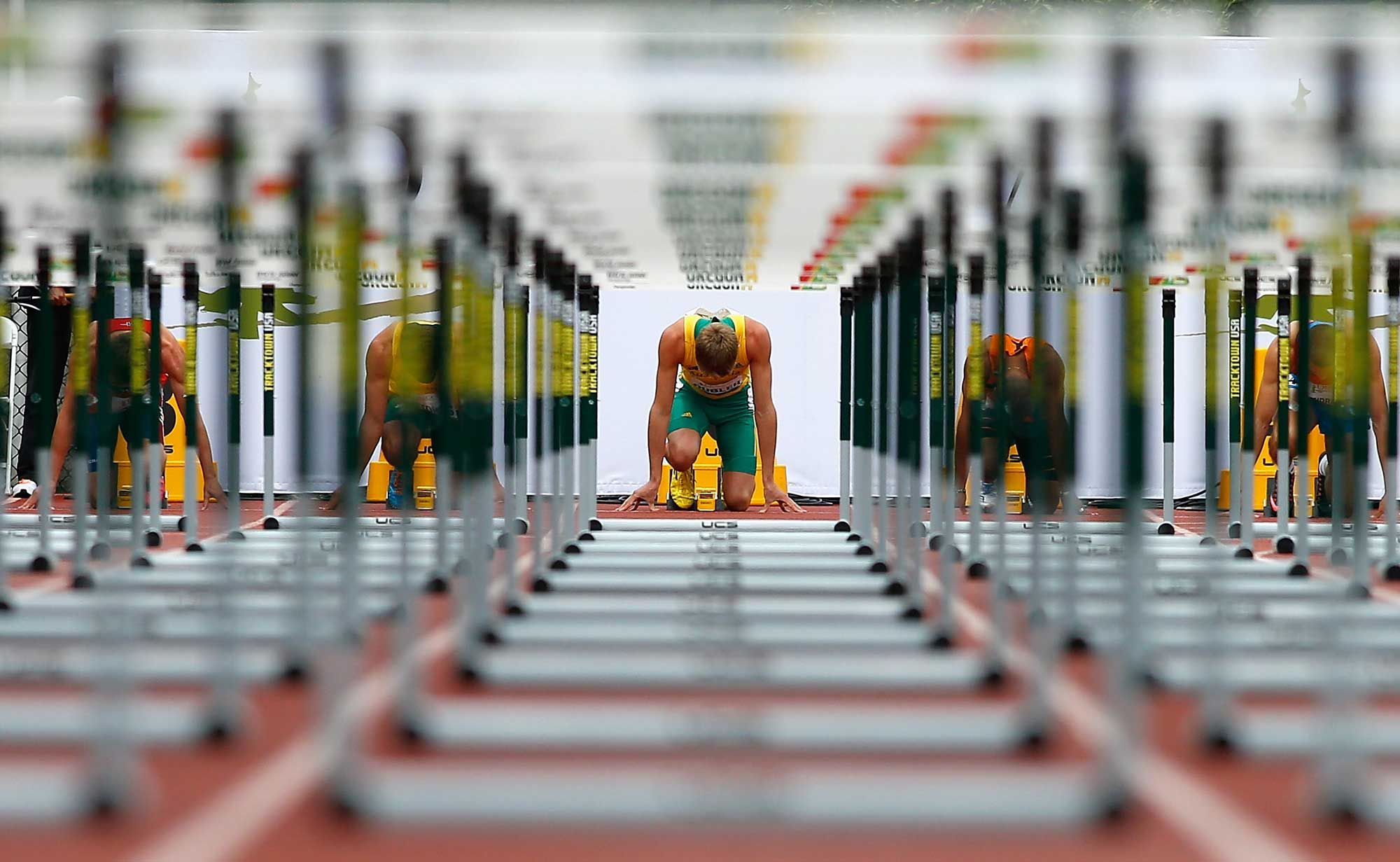 Cedric Dubler of Australia gets set in the blocks for the start of the 110m hurdle portion of the men's decathlon during day two of the IAAF World Junior Championships at Hayward Field on July 23, 2014 in Eugene, Oregon. (Photo by Jonathan Ferrey/Getty Images)