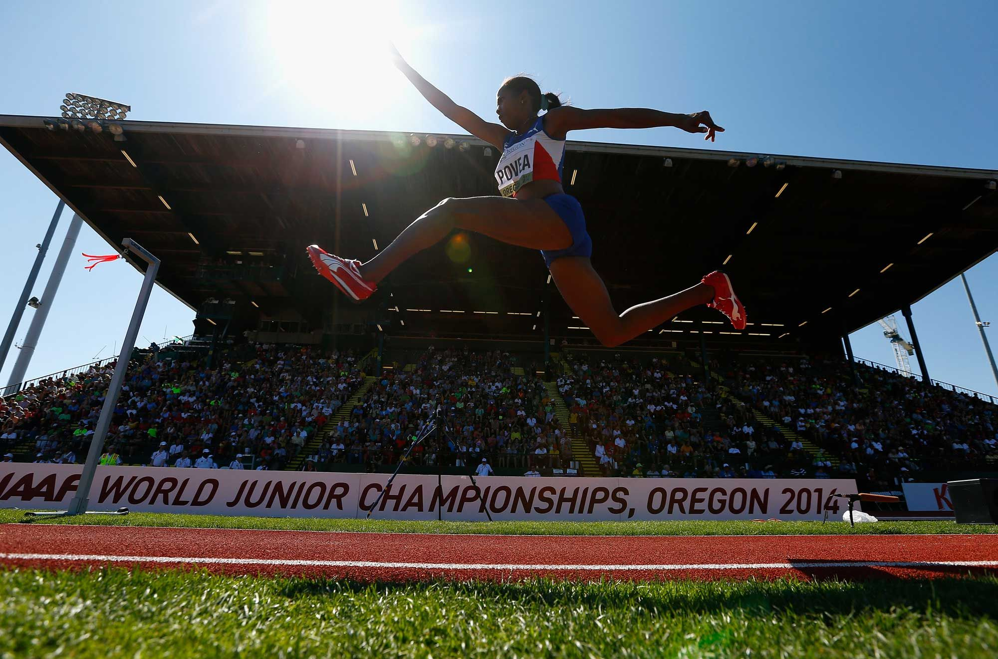Liadagmis Povea of Cuba competes in the women's triple jump during day five of the IAAF World Junior Championships at Hayward Field on July 26, 2014 in Eugene, Oregon. (Photo by Jonathan Ferrey/Getty Images)