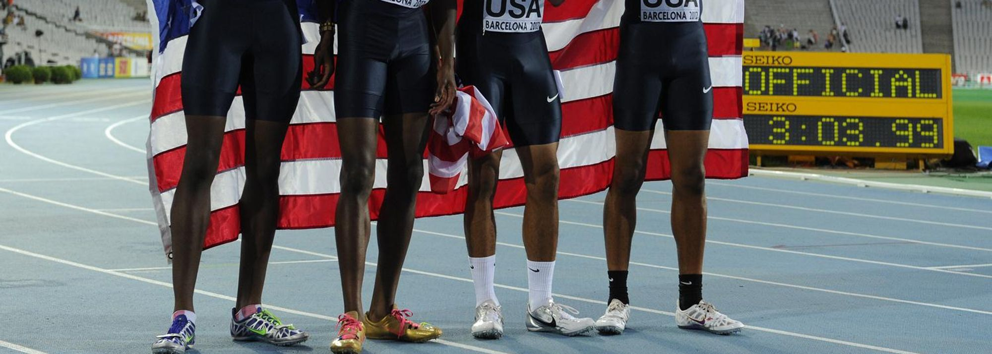 The United States of America completed a sweep of all four relay titles here in Barcelona as the men's 4x400m team of Quincy Downing, Aldrich Bailey, Chidi Okezie and Arman Hall clocked a new World Junior leading time 3:03.99.