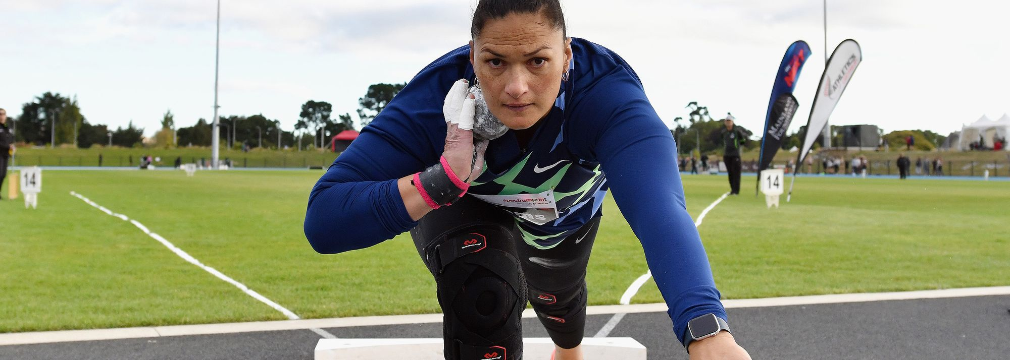 Two-time Olympic champion produces her best throw for more than four years