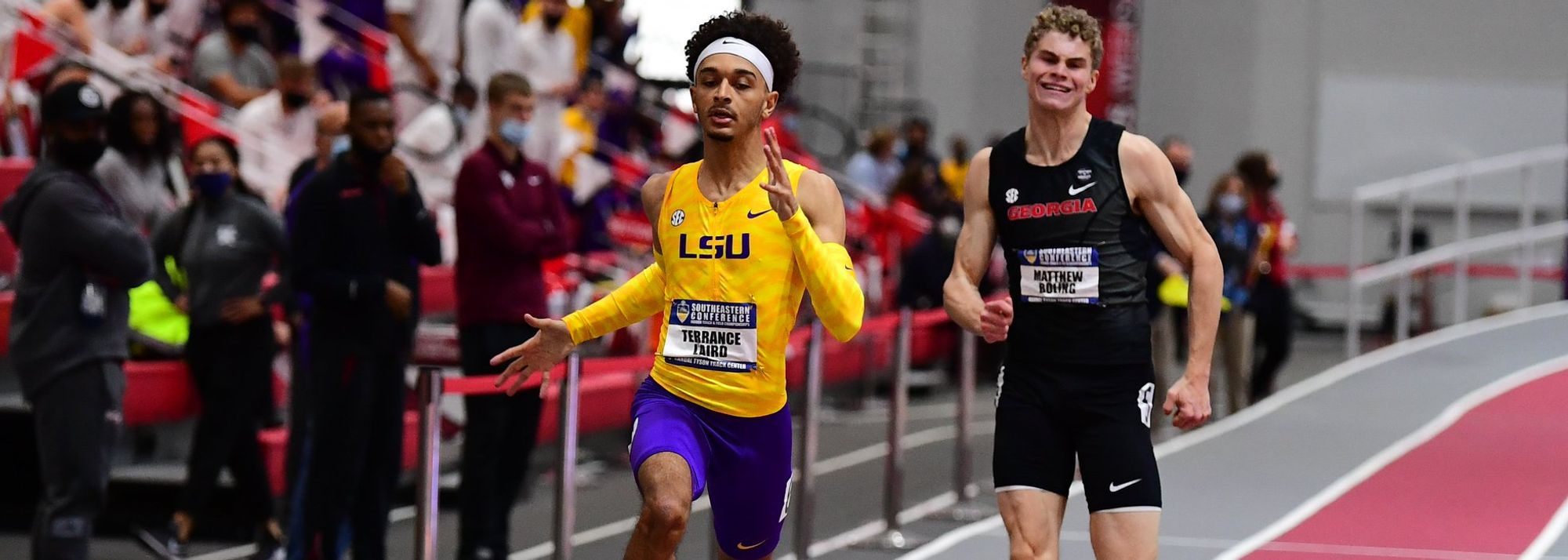 Terrance Laird and JuVaughn Harrison jumped to the top of the world lists in their respective disciplines during a busy weekend of US collegiate conference championships action.