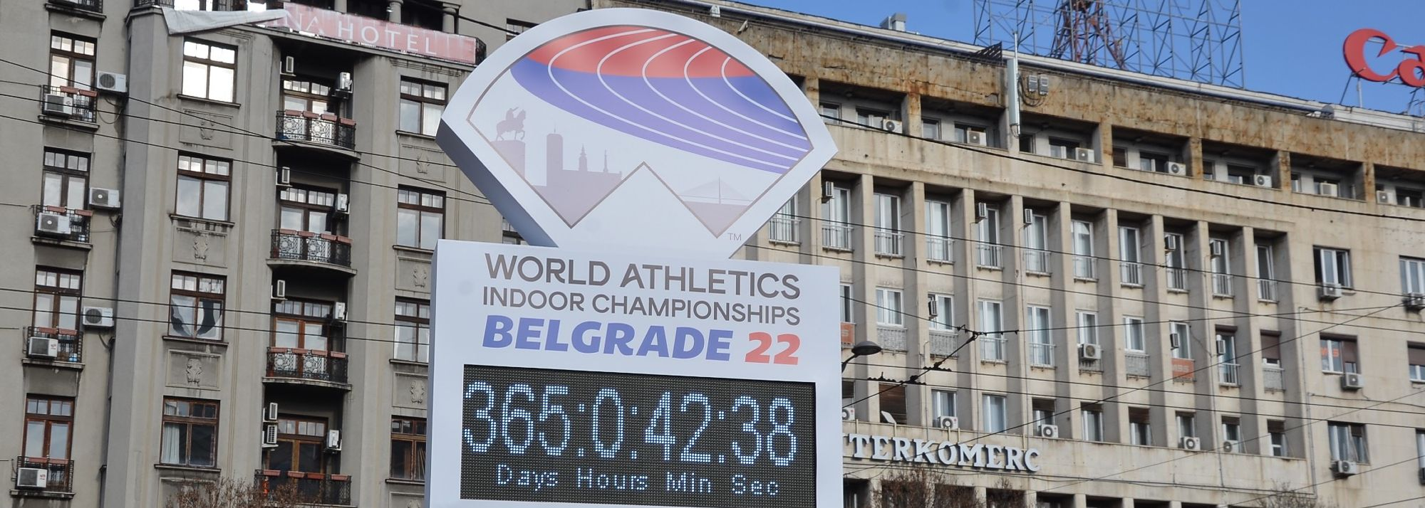 A unique countdown clock called 'The World on the Track' has been unveiled to mark the one year to go milestone ahead of the World Athletics Indoor Championships Belgrade22.