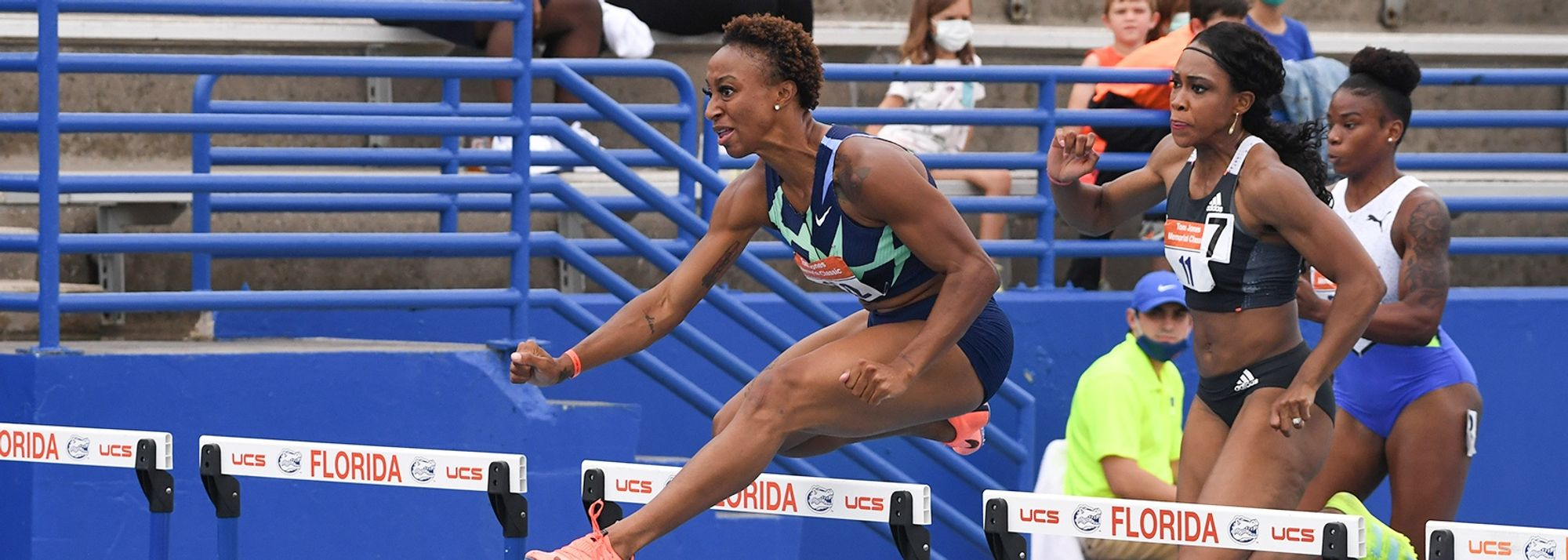 Continuing her comeback in style, Jasmine Camacho-Quinn stormed to a 100m hurdles win in 12.32 (1.7m/s) to move to equal seventh on the world all-time list at the Tom Jones Memorial Invitational in Gainesville, Florida, on Saturday (17).