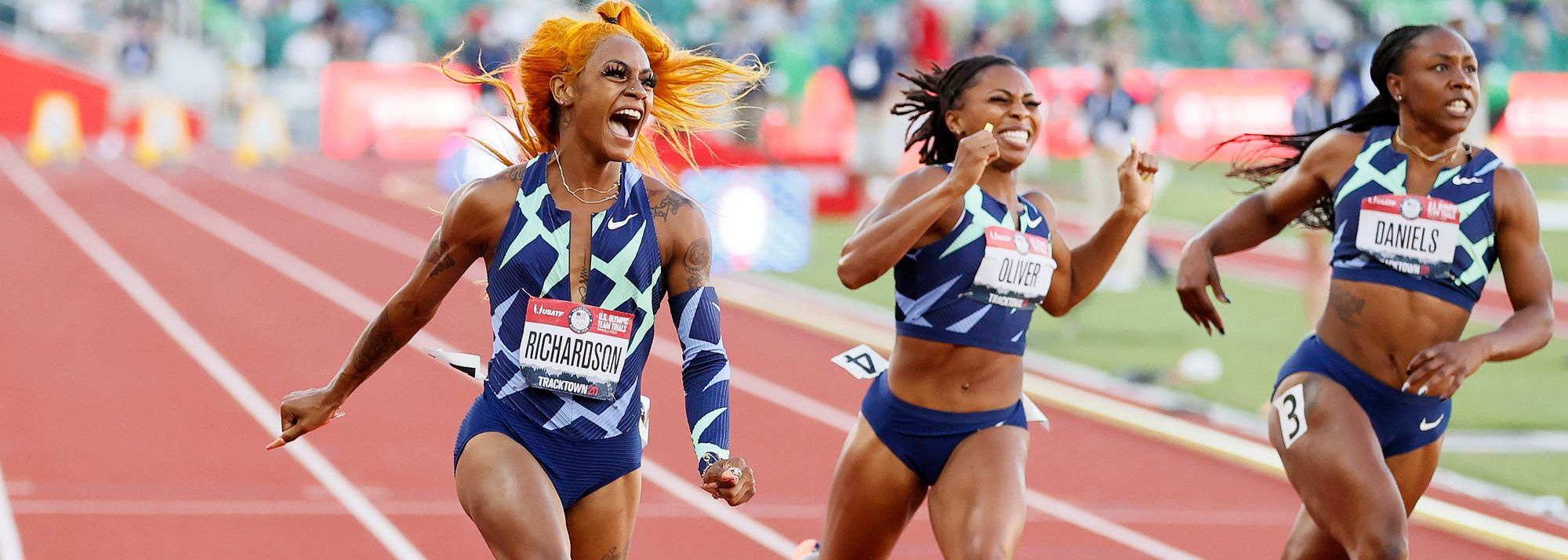 Sprinter Sha'Carri Richardson and discus thrower Valarie Allman won their respective events on the second day of action at the US Olympic Trials in Eugene on Saturday (19), booking their spots at what will be their first Olympic Games.