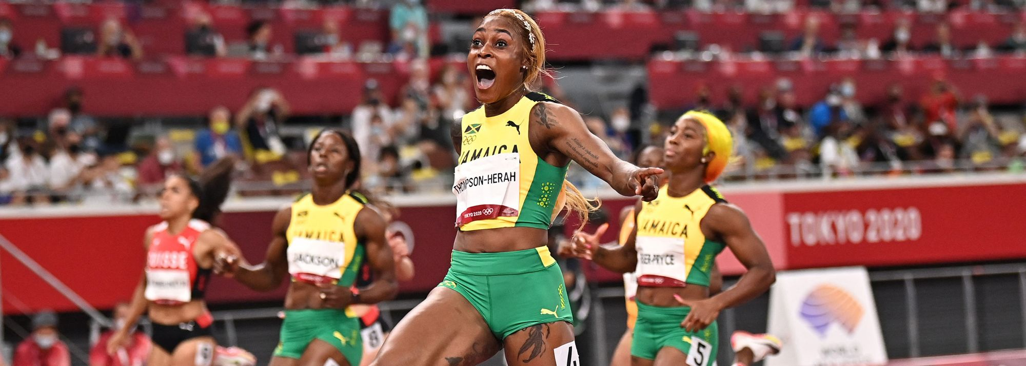 In one of the greatest sprint races of all-time, Elaine Thompson-Herah stunned with an Olympic record of 10.61 (-0.6m/s) to retain her 100m title at the Tokyo 2020 Games on Saturday (31).