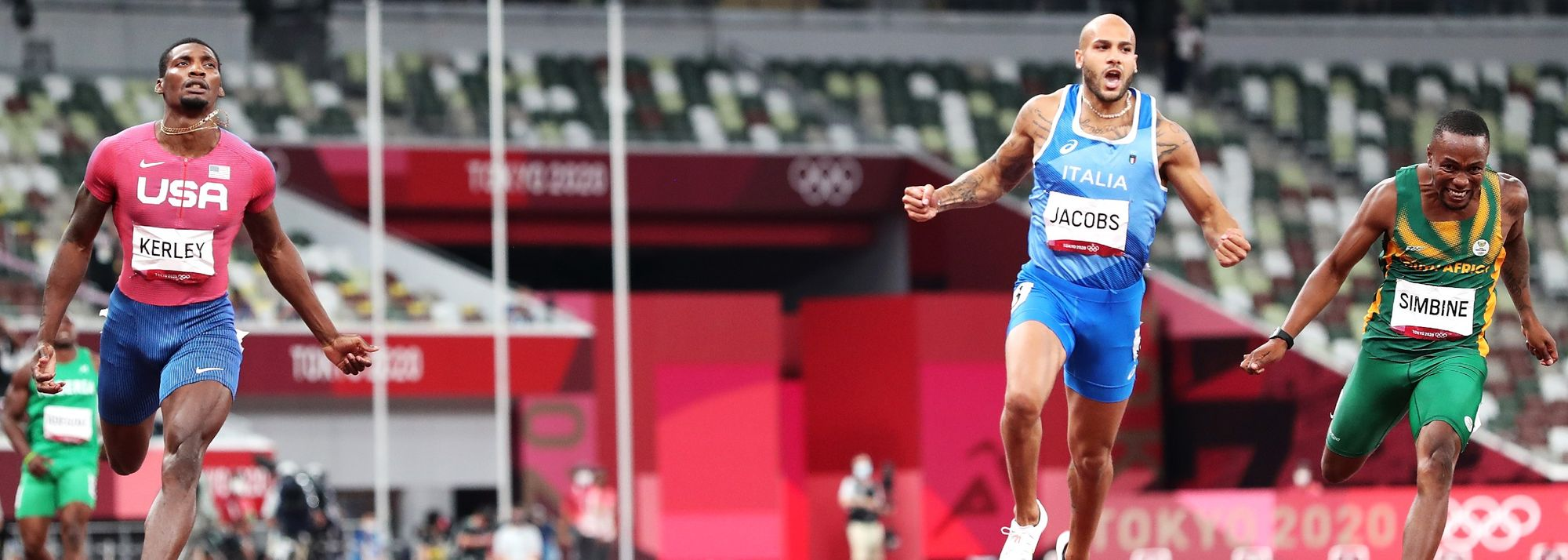 The Italian former long jumper claimed the first men's 100m gold medal of the post-Usain Bolt era.
