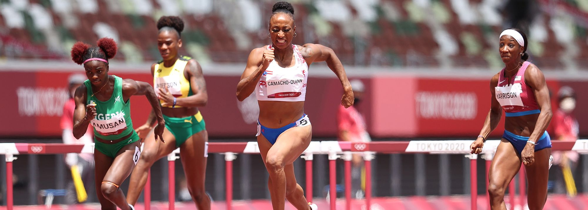 Jasmine Camacho-Quinn's experience in Rio became a distant memory as the 24-year-old cruised to victory in the 100m hurdles in Tokyo