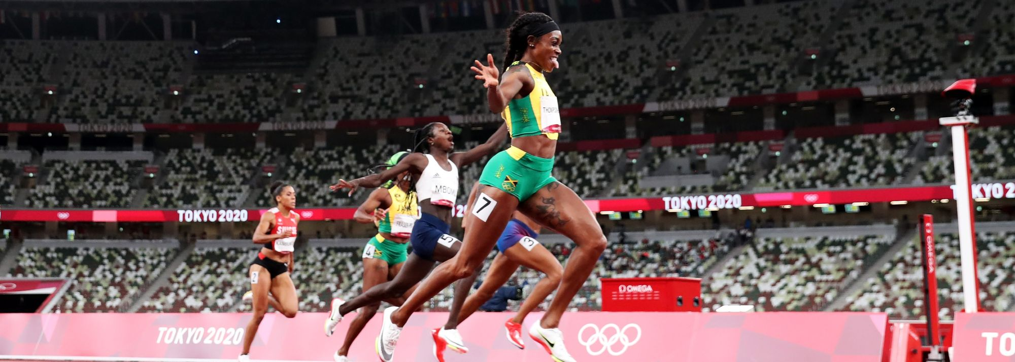 Elaine Thompson-Herah added another stunning performance to a day which will live long in the memory, becoming the first woman to ever complete a golden 100m and 200m 'double double' at the Olympics.
