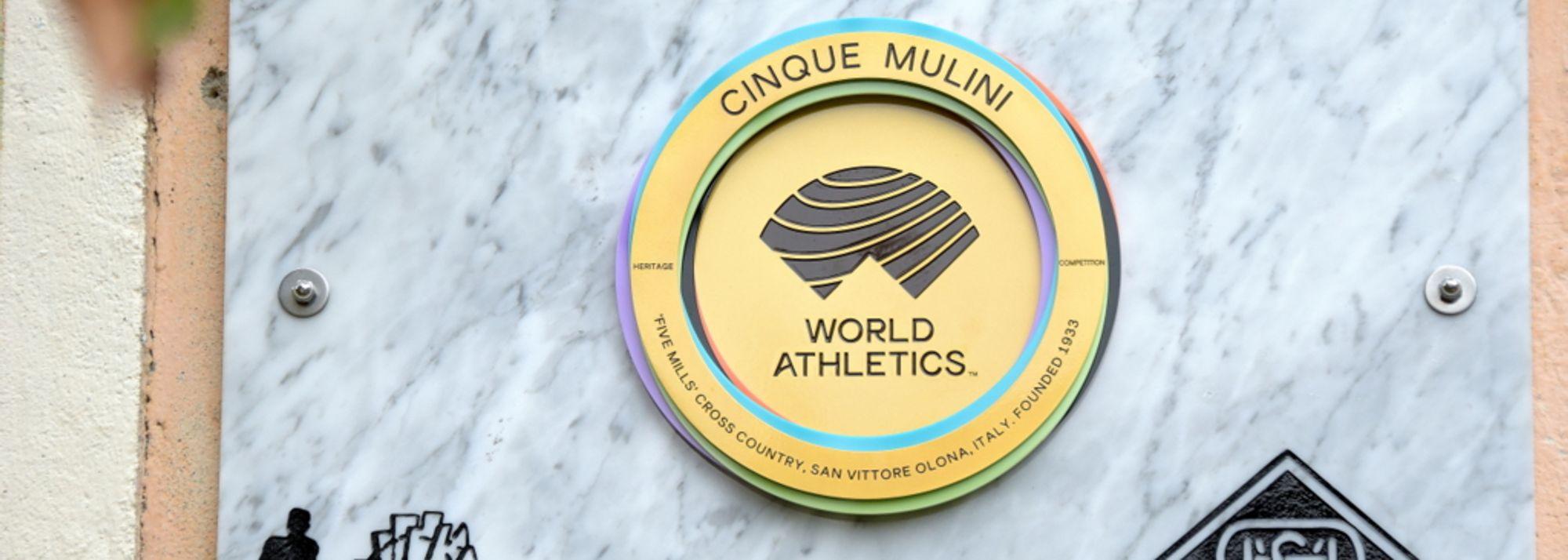 Cinque Mulini's World Athletics Heritage Plaque unveiled on side of Meraviglia Mill