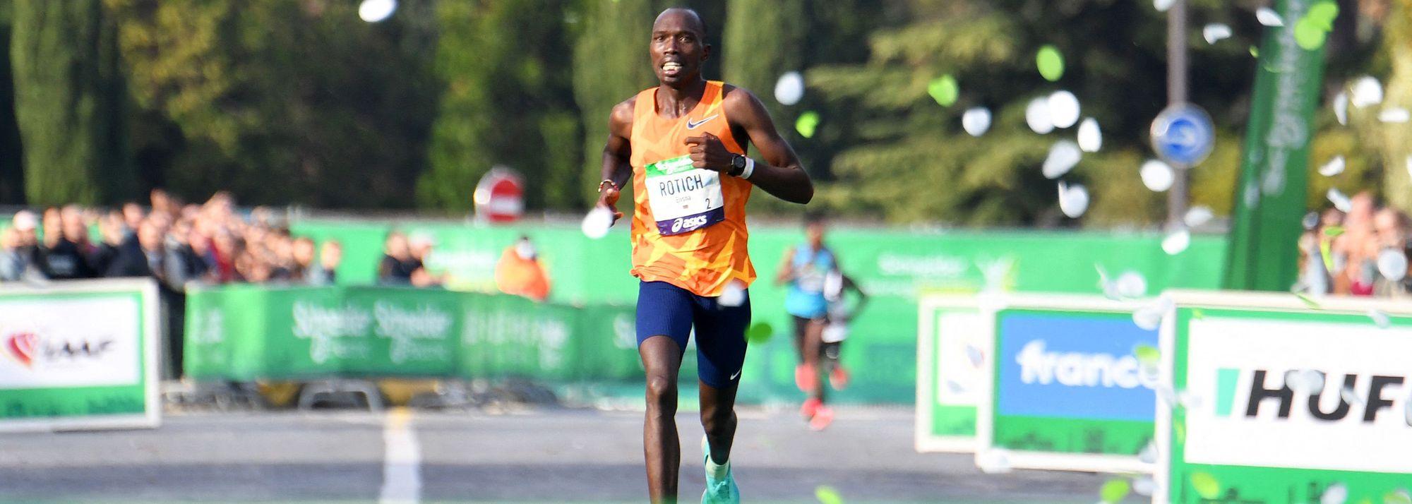 Course records for Elisha Rotich at the Paris Marathon and Joyce Tele Chepkemoi at the Rome-Ostia Half Marathon