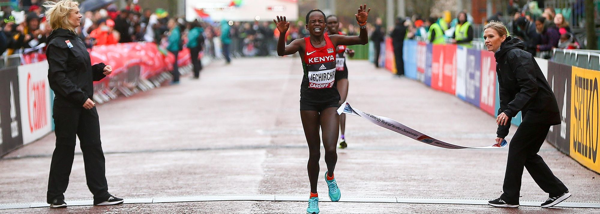 When Peres Jepchirchir added circles of gold colour to her hair ahead of the IAAF/Cardiff University World Half Marathon Championships Cardiff 2016, it became something of an unintentional good-luck charm.