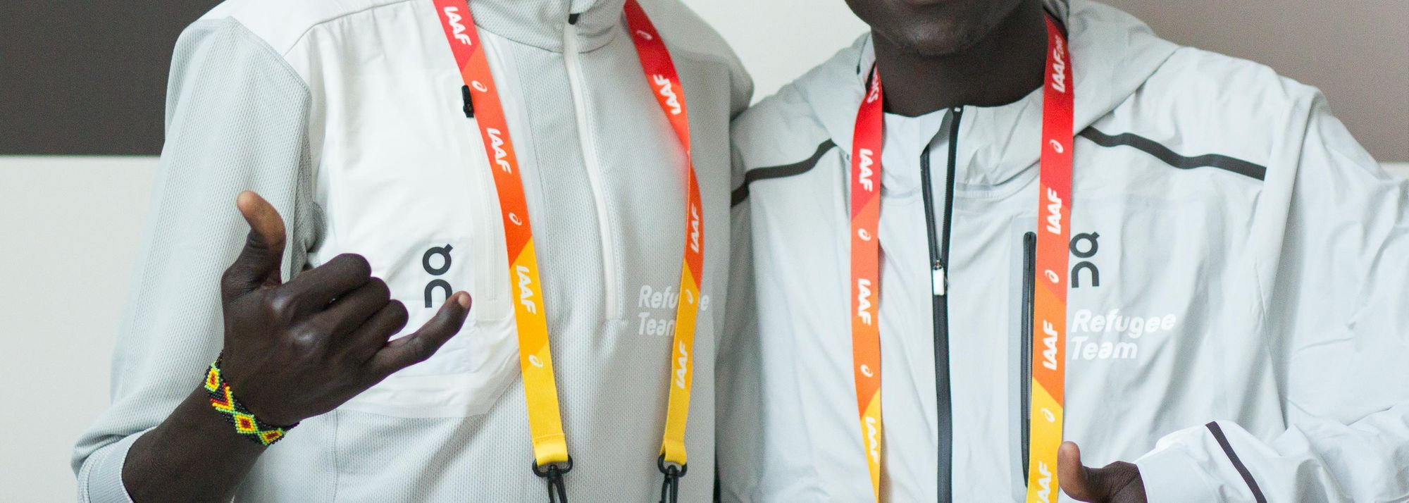 For members of the Athlete Refugee Team, each step they make, whether physical or symbolic, is a big one. The one that Paulo Amotun Lokoro and Ukuk Utho'o Bul are about to take this weekend is so big it leaves them both nearly doubling over in laughter.