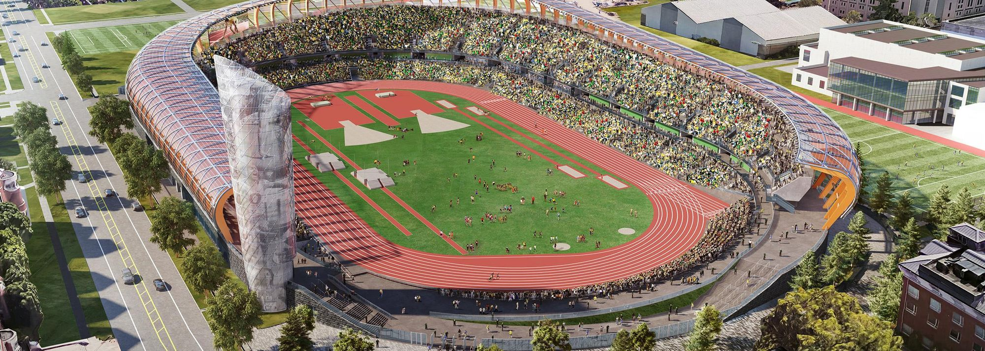 Action gets underway at Eugene's Hayward Field on 24 April