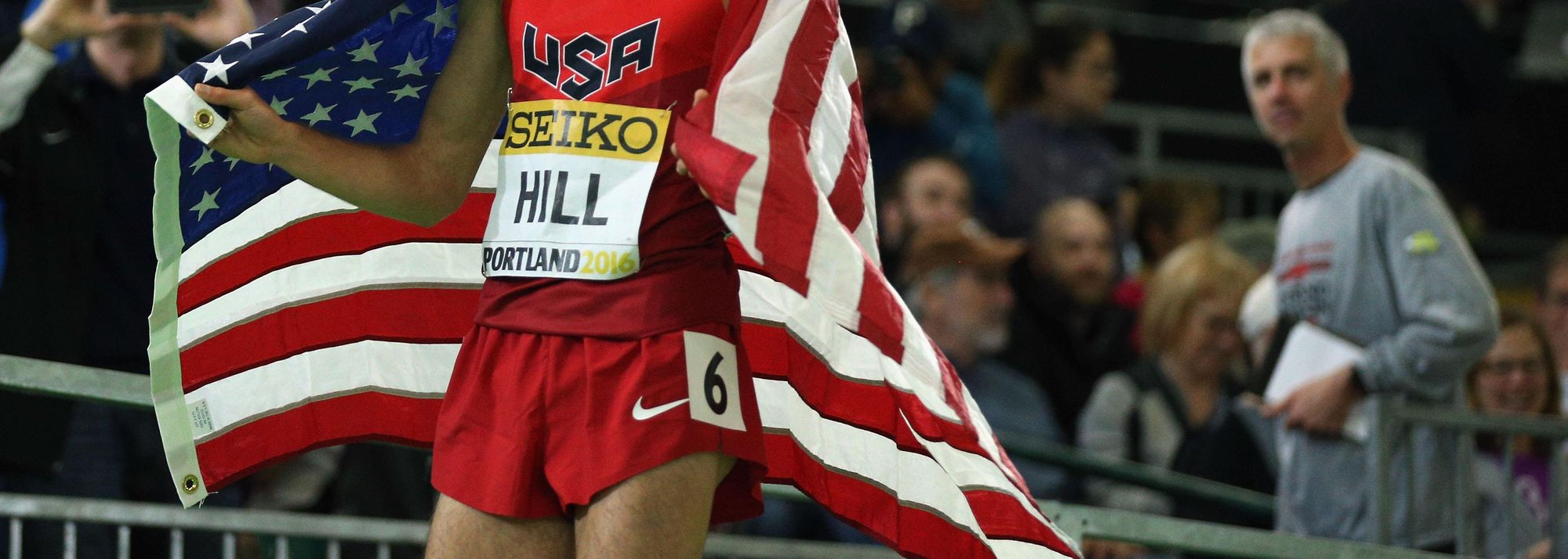 Satisfaction for Ryan Hill after winning the 3000m silver medal at the IAAF World Indoor Championships Portland 2016 lasted just a matter of moments.
