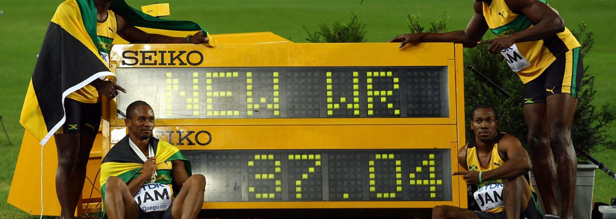 Daegu, Korea – An explosive Jamaican blitz descended upon Daegu Stadium on the final day of the 13th edition of the IAAF World Championships as a quartet from the Caribbean sprinting powerhouse broke the World record in the men's 4x100m Relay.
