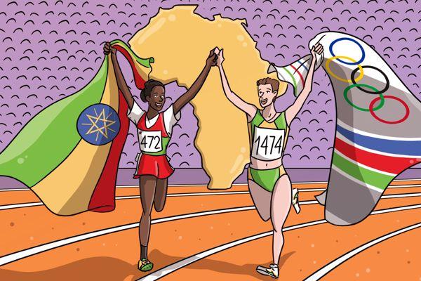 tulu-meyer-1992-olympic-barcelona-10000m-victory-lap-unite-africa