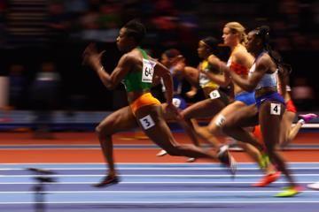 Murielle Ahoure in the 60m the IAAF World Indoor Championships Birmingham 2018