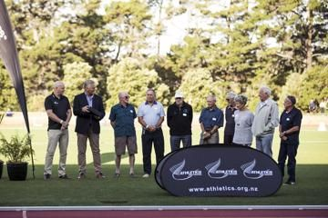 Arthur Lydiard (NZL) - World Athletics Heritage Plaque ceremony, Auckland, New Zealand, Sunday 23 Feb 2020: Left to right = Cameron Taylor, Geoff Gardner, Mike Ryan, Roy Lydiard, Barry Magee, Gary Lydiard, Jeff Julian, Heather Matthews, Bill Rodger, Bryan Rose