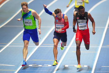 Pavel Maslak (centre) in the 400m at the IAAF World Indoor Championships Birmingham 2018