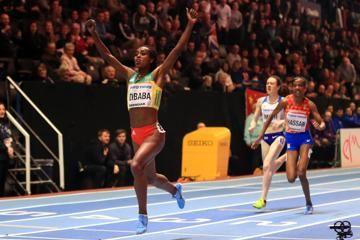Genzebe Dibaba wins the 3000m IAAF World Indoor Championships Birmingham 2018