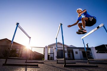 Breyton Poole trains in the street at his home in Strand, Cape Town, South Africa  (Roger Sedres)