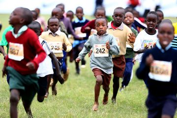 Children aged three to five compete at the Discovery Cross Country Championships in Eldoret, Kenya (Michael Steele)