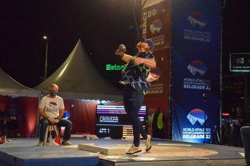 Ryan Crouser in action in Belgrade