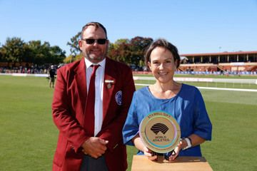 Neil Blizzard, president of Stawell Athletic Club, and The Hon. Jaala Pulford, Minister for Western Victoria