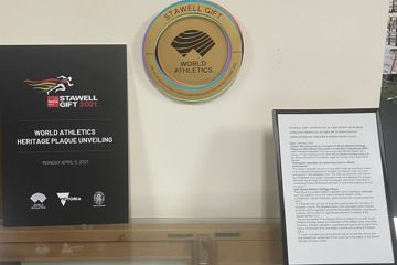 World Athletics Heritage Plaque on display in the Stawell Gift Hall of Fame, Stawell, Australia