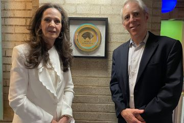Armory Foundation Co-Presidents Rita Finkel and Jonathan Schindel with Millrose Games Heritage Plaque, Armory, New York