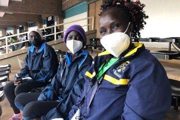 Emmaculate Napeyok, Alice Samuel and ART matron Eliza Lopilale at Nairobi's Kasarani Stadium