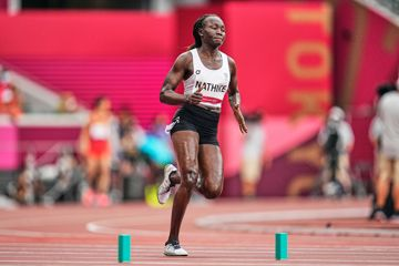 Rose Lokonyen Nathike of the Athlete Refugee Team in action at the Tokyo 2020 Olympics