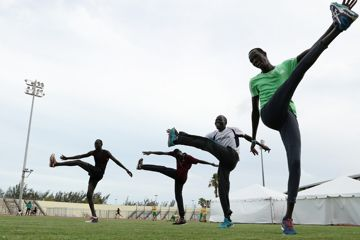 The Athlete Refugee Team practices prior to the IAAF / BTC World Relays Bahamas 2017