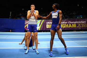 Andrew Pozzi reacts after being given the nod ahead of Jarret Eaton in the men's 60m hurdles final at the World Indoors in Birmingham