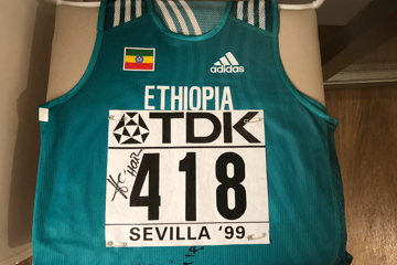 Haile Gebrselassie's vest and number from the IAAF World Championships Seville 1999
