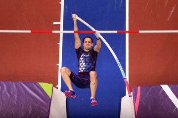 Renaud Lavillenie vaults at the World Indoors in Birmingham, where he won gold with a 5.90m clearance