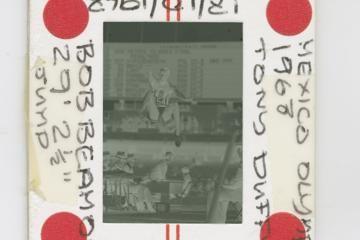 Negative of Tony Duffy's photo of Bob Beamon's world record