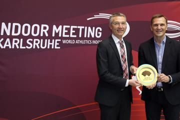 Karlsruhe City Sports Mayor receives the World Athletics Heritage Plaque for World Athletics CEO Jon Ridgeon