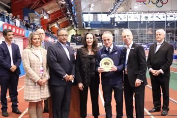 WA Heritage Plaque awarded to NYRR Millrose Games and Wanamaker Mile: Armory Foundation Co-Presidents Rita Finkel and Jonathan Schindel and NYRR CEO Michael Capiraso accepted the award from USATF CEO Max Siegel and USATF COO Renee Washington.