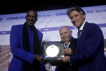Robson Caetano Da Silva receives IAAF Plaque - CONSUDATLE Centennial Dinner, Gran Salon, Panamerican Hotel, Buenos Aires